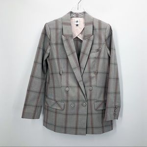 CAbi Plaid Sleuth Double Breasted Blazer